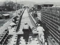 鴨宮付近の新幹線工事風景