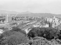 天守閣から見た小田原駅