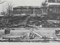 市立白山中学校の火災現場