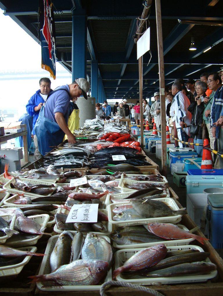 Mercado matinal en el puerto pesquero de Odawara