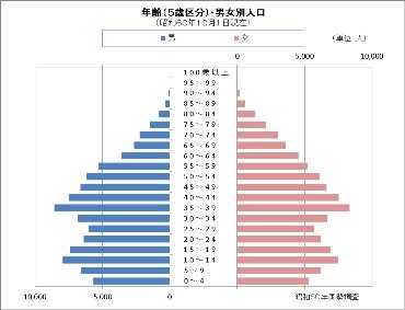 昭和60年国勢調査の人口ピラミッド