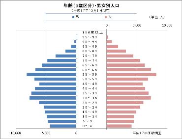 平成17年国勢調査の人口ピラミッド
