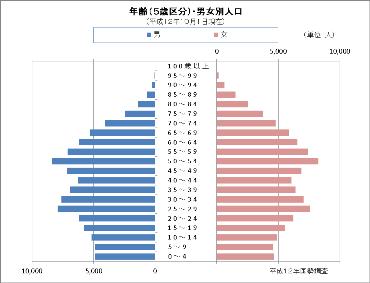 平成12年国勢調査の人口ピラミッド