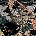 同じく勝川春亭が描いた次の作品も同じ佐々木高綱を描いたものである