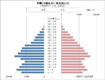 昭和55年国勢調査の人口ピラミッド