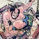 四天王土蜘蛛退治の図の中央(部分)