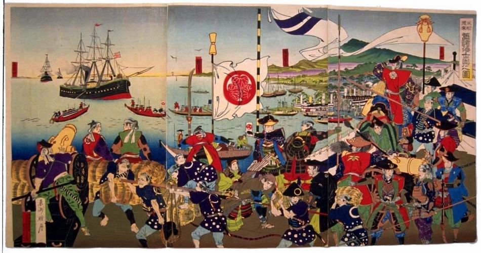 米船渡来旧諸藩士固之図
