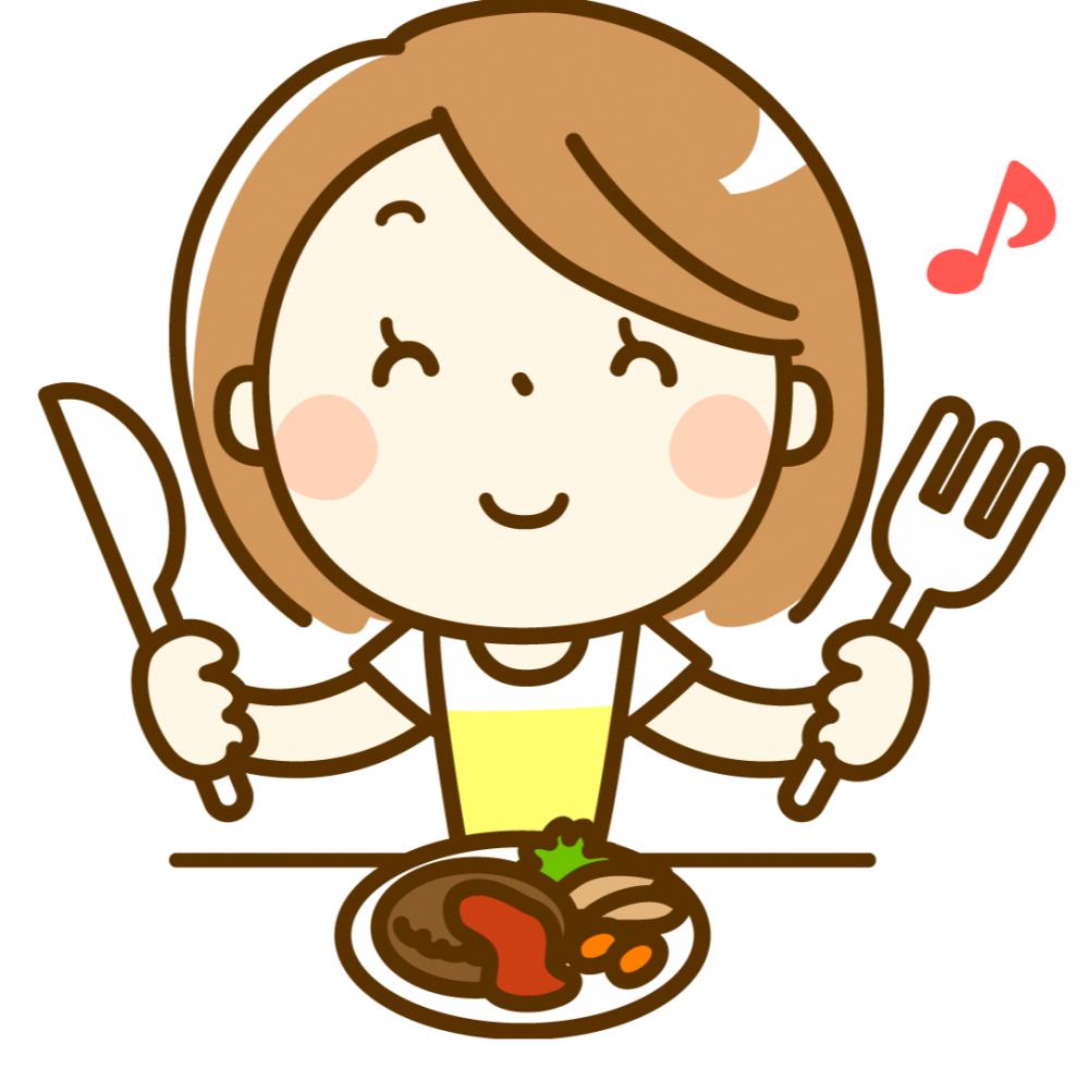 おいしそうに食事をする女性のイラスト