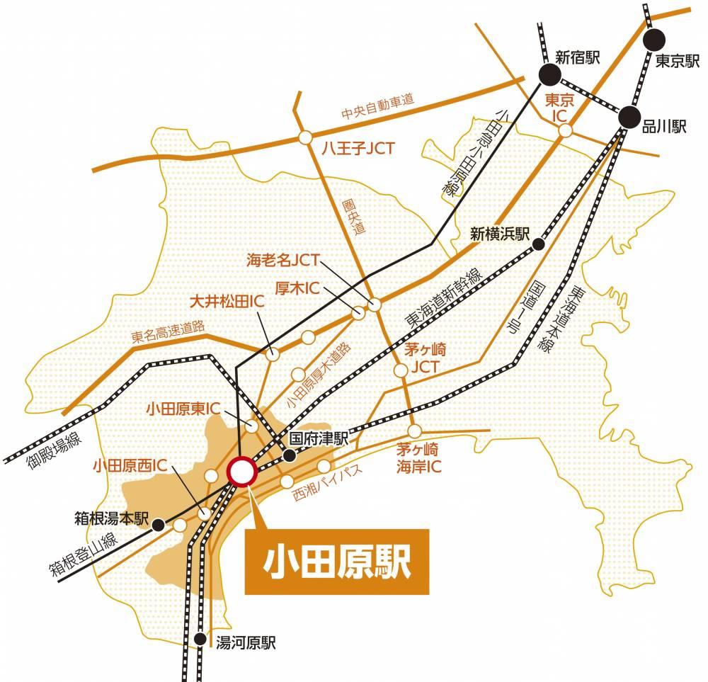 小田原市と近郊の鉄道網・道路網概略図