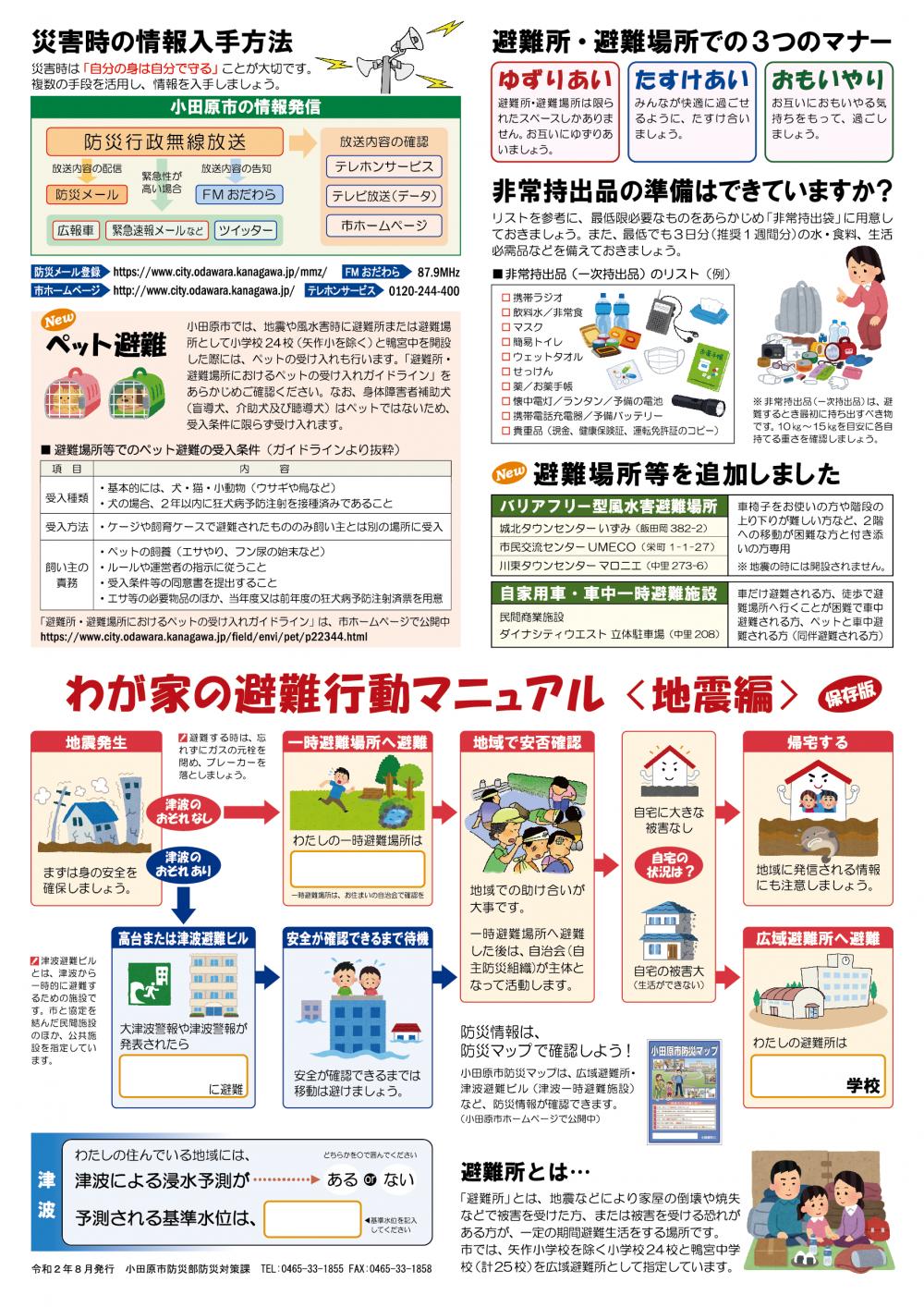 わが家の避難行動マニュアル(地震編)