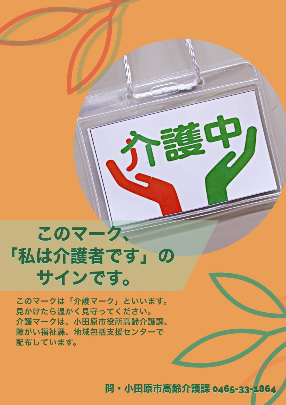 介護マークのチラシ(オレンジと緑を基調にしたオーソドックスなデザイン)