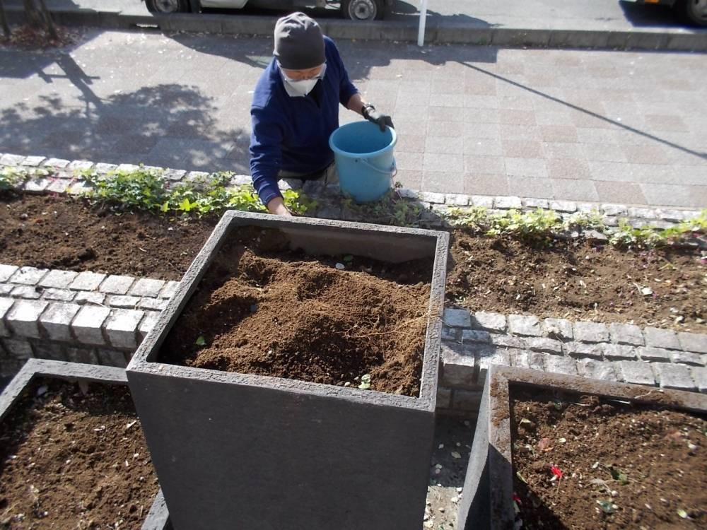 花壇の植付け準備の様子