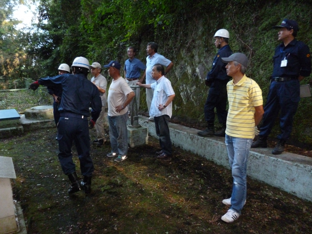 水道局から各配水池施設について説明