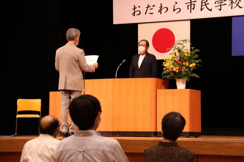 卒業生を代表し谷藤忠敏さんから御挨拶