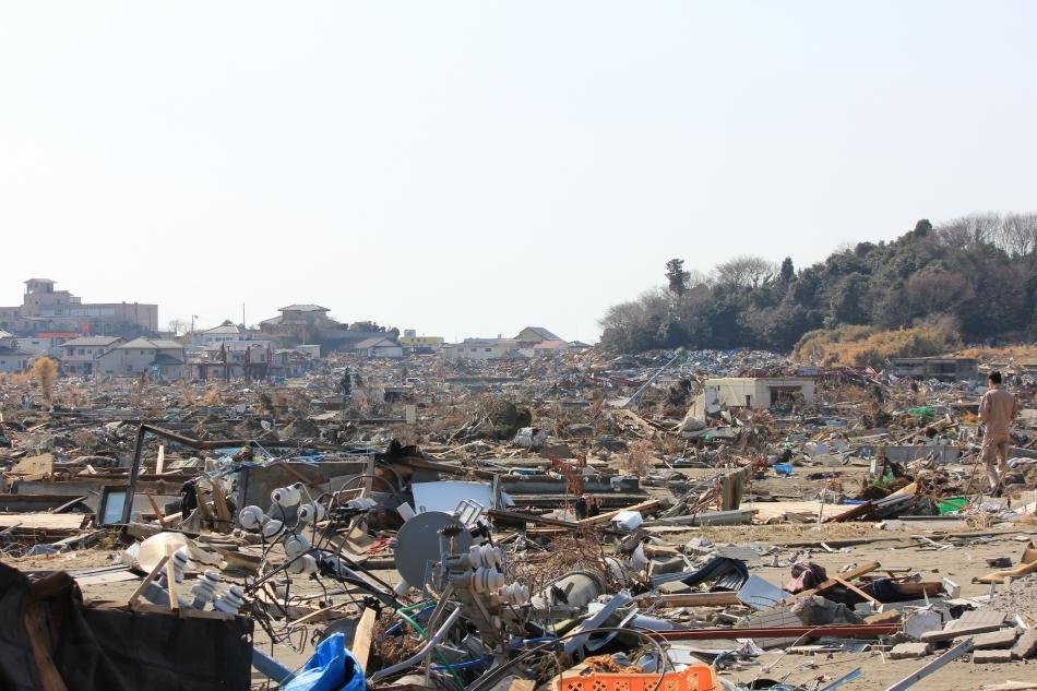 岩子地区 津波が到達したであろう地域